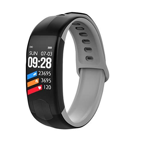 MiMiey Farbdisplay Smart Armband Herzfrequenz Blutdruck Messgerät Schritt Wasserdicht Schlafüber Wachung Wecker Multi Sport Modus (Schwarz)