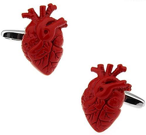 Rotes Herz Manschettenknöpfe. Neuheit, Medizin, Arzt.