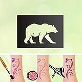 Tattoo Schablone Eisbär Selbstklebend Kinder Schminken Airbrush Makeup Polarbär Winter Eis Schnee Größe 20 Stk
