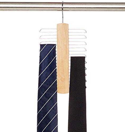 AmazonBasics Holzbügel für Krawatten und Gürtel mit 20 Aufhängern
