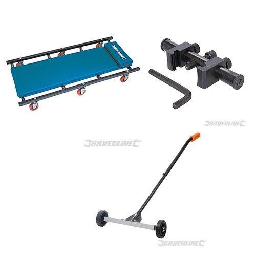 Lettino sotto-auto meccanico + Estrattore per pulegge + Spazzatrice magnetica