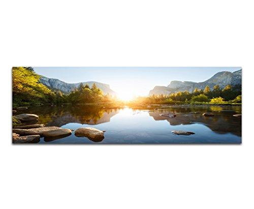 Panoramabild auf Leinwand und Keilrahmen 120x40cm Yosemite Berge Wald Fluss Sonnenaufgang