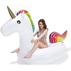 Vickea Flotador de Unicornio Gigante Inflable para divertirse en la Piscina Gran Flotador de Juguete, para Adultos y Niños, para Piscina al Aire Libre o Lounge