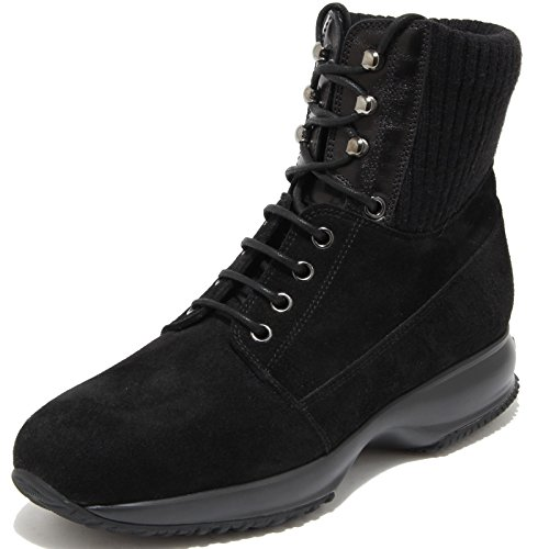 84968 polacchino HOGAN INTERACTIVE ALLACCIATO scarpa stivale donna boots shoes w Nero