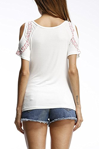 Frauen Elegant Kurze Ärmel Hebt Patchwork - T - Shirts White