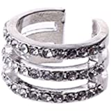 Del Mutilayer oro/plata liso de pila/cristal anillo de dedo del nudillo por encima de la media (de 3 capas-cristal)