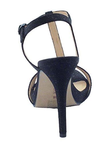 CafèNoir Sandali Eleganti in Tessuto con Glitter Nero Tacco a Spillo Nero