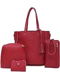 LuckES 4 piezas mujeres estilo simple Bolsas de hombro individuales Bolsos de viaje al aire libre