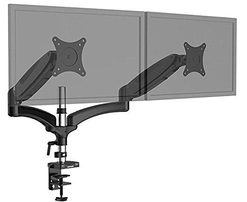 """SLYPNOS Monitor Tischhalterung für 2 Monitore Schwenkbar Neigbar Ergonomisch Höhenverstellbar Monitorhalterung mit Federarm für LCD Monitor oder TV von 15""""-27"""" , max. Tragfähigkeit 8kg (2 Monitore)"""