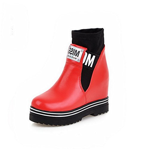 AgooLar Damen Blend-Materialien Mitte-Spitze Gemischte Farbe Ziehen auf Hoher Absatz Stiefel, Schwarz, 39