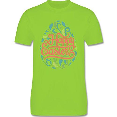 Ostern - Osterei Typografie floral - Herren Premium T-Shirt Hellgrün