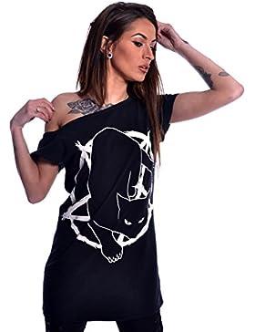 Heartless Top o Camiseta de Hombro Descubierto con Gato y Pentáculo