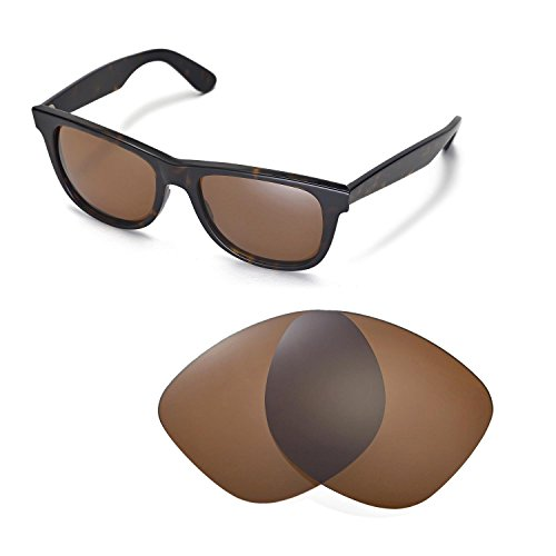 Walleva Ersatzgläser für Ray-Ban Wayfarer RB2140 54mm Sonnenbrille - Mehrfache Optionen (Braun - polarisiert)