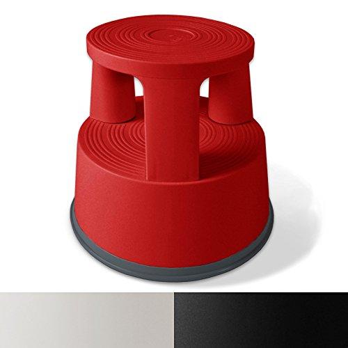 Rollhocker  Arbeitshocker | TÜV- und GS-geprüft | Elefantenfuß | Kunststoff | Tritthocker mit Rollen | 3 Farben (Rot)