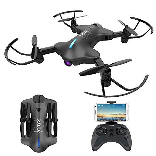 ATOYX AT-146 Drohne mit Kamera HD 720P WiFi FPV Quadrocopter, App-Steuerung, One Key Start/Landung,Headless Modus,Faltdrohne für Anfänger und Kinder (Schwarz)