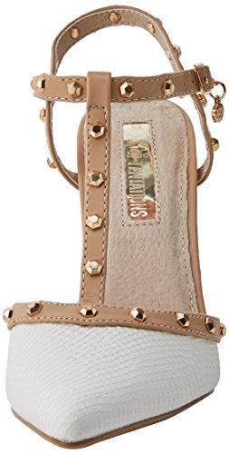 XTI 30689, Scarpe Col Tacco con Cinturino a T Donna Bianco (White)
