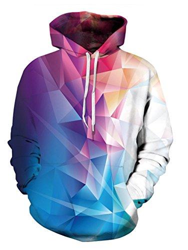 Idgreativ Mens Pullover Hoodie Diamant gedruckt lose beilAufige mit Kapuze Sweatshirt Jacke Mantel
