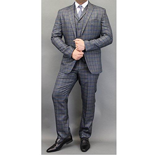Hommes Mélange Laine Tweed À Carreaux Blazers Gilets Pantalon 3 Pièces Pour By Cavani Bleu/Charbon - FALENA