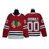 Aitry Maillot de Hockey Griswold # 00 Maillot de Hockey Black Hawks de Chicago, Sweat-Shirt pour Homme, T-Shirt Respirant
