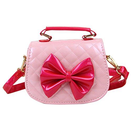 Happy Cherry Kleines Mädchen Tasche Kinder Umhängetasche Mode Frauen Schultertasche PU Leder Handtasche Mit Schleife Verstellbar Schultergurt Taschen Kindertasche Girls Bag 16 * 6,5 * 12cm - Rosa (Bow Handtasche Rosa)