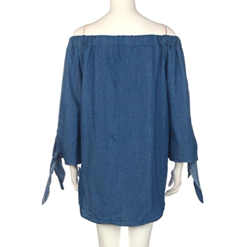 Reaso Femmes Manche longue Sans bretelles Denim Robe Bleu