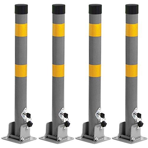 Preisvergleich Produktbild Yahee 4x Parkpfosten Sperrpfosten ParkWatch Rund Parkplatzsperre klappbar mit Schlüssel