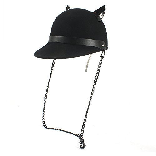 100% Wolle Black Fedoras Cap mit Teufel Hörner Cute Cat Ohr Hut Kawaii Reit Hut (Color : Black, Size : 56-58cm) (Horn Teufel Mütze)