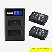 DMK Power LP-E12 Battery (2-Pack) and LCD Dual USB Charger for Canon LP-E12 and Canon EOS M M2 M10 M50 M100 EOS 100D EOS Reb