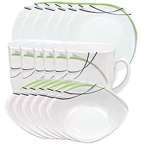 Donna-set de 18 pièces comprenant 6 assiettes, 6 bols et 6 tasse en porcelaine blanche ridules avec décor en noir, gris et vert, pour 6 personnes