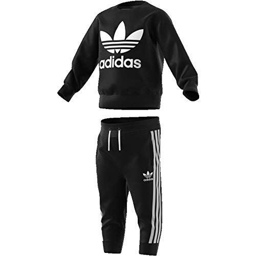 adidas Baby Crew Set Trainingsanzug, Top:Black/White Bottom:Black/White, 80