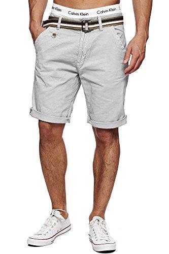 INDICODE Herren Cuba Shorts Bermuda kurze Hose inkl. Gürtel Grau XXL (Grau, Highlights)