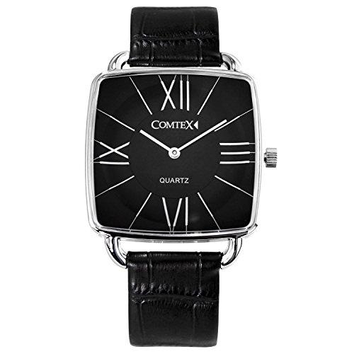Comtex Herren-Armbanduhr quadratisches Zifferblatt mit schwarzem Leder Einfache Uhr