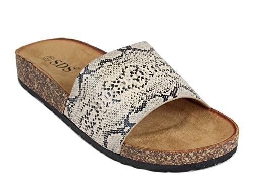 Frentree Damen Sommer Sandalen mit Metallschnalle Buckle   Bunte Pantoletten mit Zebra Leoparden Muster, Größe Normal:40, Farbe:Beige Snake Leopard Snake