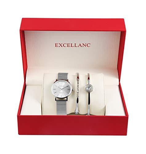 Excellanc Damen - Schmuckset Analoge Damenuhr und zwei Schmuck Armbänder 1800154 (Silberfarbig/Silberfarbig)