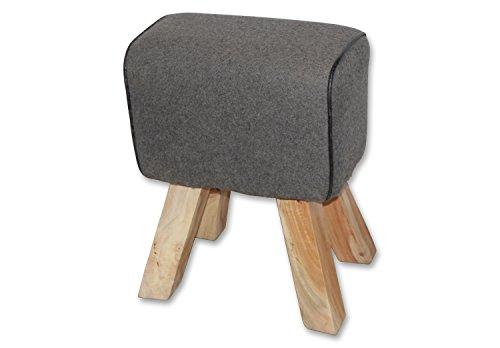 Hochwertiger BELLESET Design Filz-Hocker mit edlen Mangoholz-Beinen, grau, 40x24x50 cm, Sitzbock Sitzhocker Bock