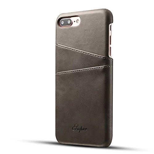 FQIAO iPhone 7 Plus Tasche, PU Leder Schützend Telefon Zurück Dauerhaft Hülle Schlank Passen mit Zwei Kartensteckplätze für Apple iPhone 7 Plus 5.5 Zoll 2016 Freisetzung-Grau