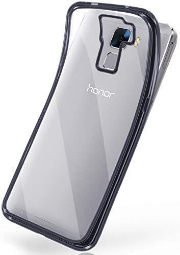 moex Huawei Honor 7 | Hülle Silikon Transparent Anthrazit Chrom Back-Cover Silikonhülle Dünn Schutzhülle Handyhülle für Honor 7 / Honor 7 Premium Case Ultra-Slim Tasche TPU