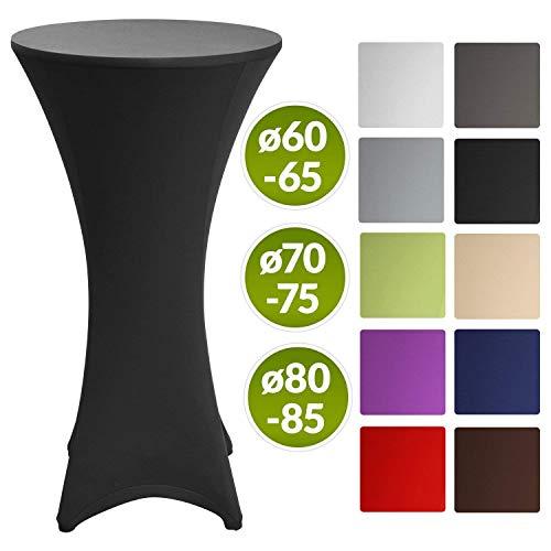 Beautissu Housse de table de bistrot - Mange debout - Deco Cocktail - Stretch spandex - Stella - 60-65cm - Noir