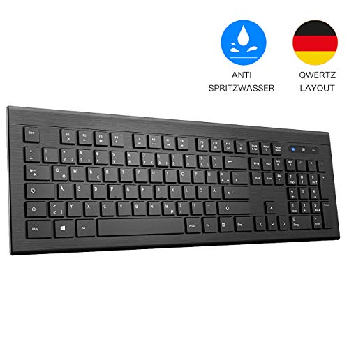 TOPELEK Tastatur Kabellos, Deutsches Layout, Lightweight Slim Wireless Keyboard Business, Wasserdicht Tastenkappen mit Nano USB, 2.4GHz QWERTZ, für Computer, Laptop Notebook PC Apple