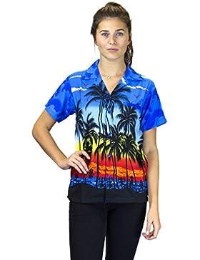 V.H.O. Funky Hawaiibluse Hawaiihemd | Damen | Kurzarm | Front-Tasche | Hawaii-Print | Strand Party Beach Palmen