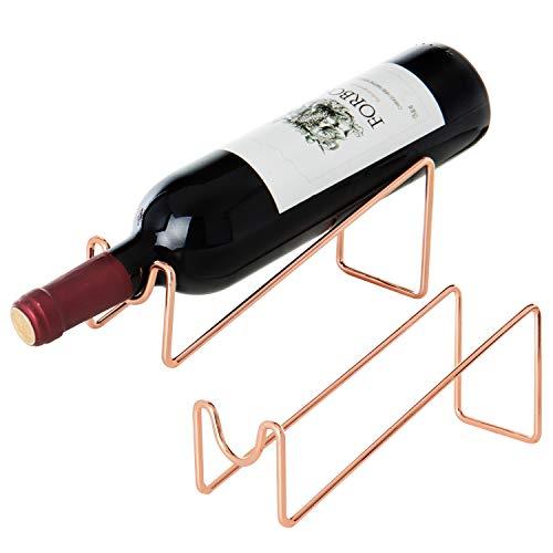 MyGift Weinregal für 1 Flasche, Roségold, Metall, 2 Stück