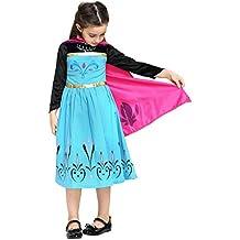 Katara - Disfraz de Elsa Princesa de las Nieves vestido de coronacion negro-azul con capa rosa - traje de carnaval para niñas de 6-7 años