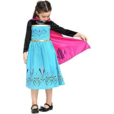 Frozen - Princesa Elsa, vestido de disfraz para niños de 3-4 años, color negro / turquesa