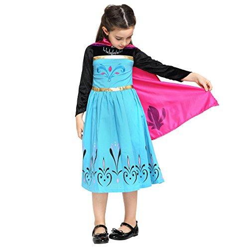 Katara 1208 - 128/134 - Eiskönigin Kostüm-Kleid von Elsa's Krönung im Disney-Film in schwarz/blau/türkis für Mädchen/Kinder von 3-10 Jahren für Karneval, Fasching, Fastnacht, Themenparty