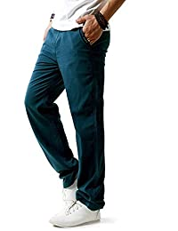 Minetom Hombres Casual Pantalones De Playa Lino Mezclilla Verano Largo  Pantalón Con Bolsillos 2433ff26484