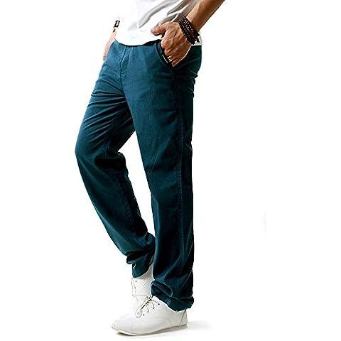 Minetom Hombres Casual Pantalones De Playa Lino Mezclilla Verano Largo Pantalón Con Bolsillos