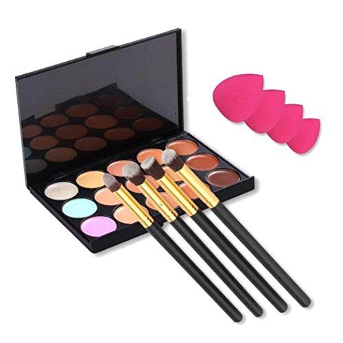 Fulltime® 15PCS couleurs Contour Concealer Palette + 4pcs poudre Pinceaux + 4PCS Sponge Blender