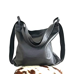 Bolso mochila cuero negro mujer