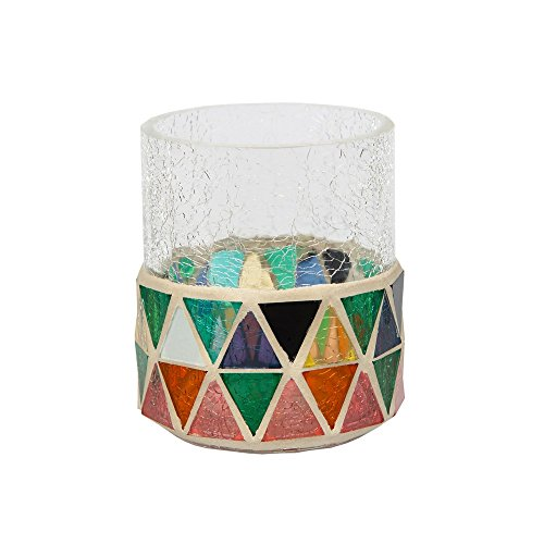 "Yankee Candle Corsica Crackle Votive Holder Coloured Mosaic & Clear Solid Glass for Samplers or Tea Lights Small 7.5cm/3"" Modern Decorative Candle Container for Fireplaces & Tables Indoor/Outdoor"