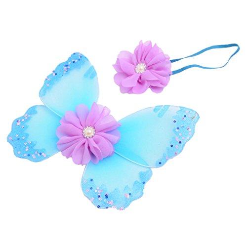 Baby-Foto Requisiten Neugeborene baby fotoshooting Fotografie Kostüm Blumen Stirnband Butterfly Wings - Minze, one ()